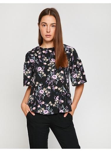 Koton Çiçekli İspanyol Kol Bluz Pembe